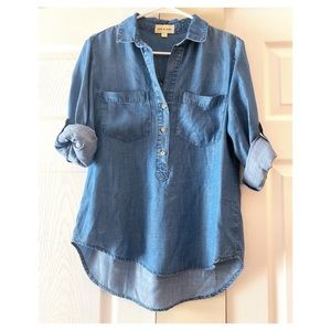 Anthropologie Cloth & Stone Blue Chambray Popover